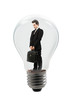 handsome manager in a lamp bulb