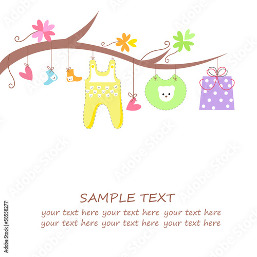 Baby arrival card with gift, hearts, flower and clothes vector