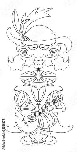 Noble cavalier with mandolin, outline