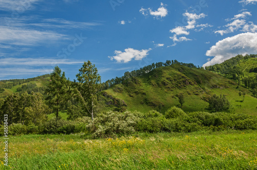 Mountains, sky, grassland