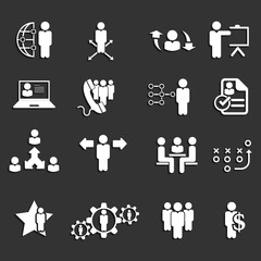 Business management ,strategy and human resource icons