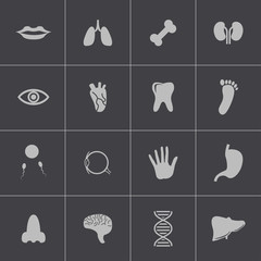 Vector black  anatomy  icons set