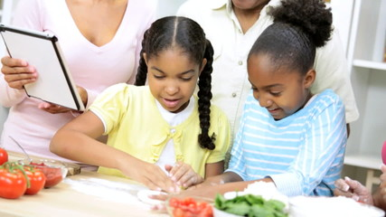 Ethnic Children Family Wireless Tablet Cooking Apps