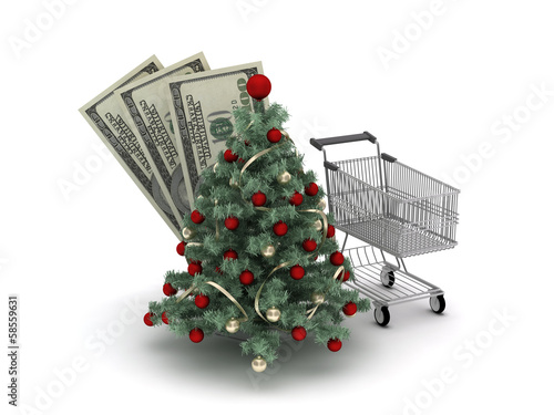 Christmas shopping concept illustration