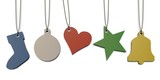 five colored paper tags shaped in Christmas theme