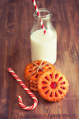Cookie with milk on the table for Santa