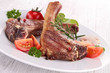 grilled lamb chop with vegetable
