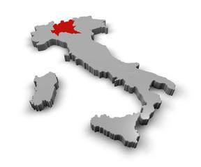 Cartina Italia 3d regioni Lombardia