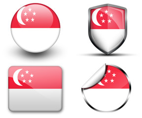 Singapore flag button sticker and badge