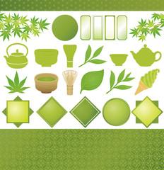 抹茶 緑茶 お茶 広告 イラスト