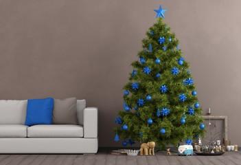 Blauer Weihnachtsschmuck