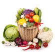 Fresh vegetables put in a wattled basket