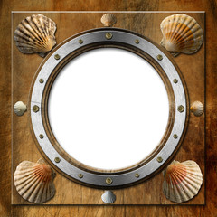 Metal Porthole with Seashells