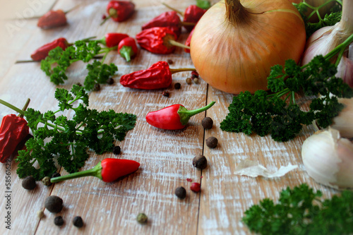 Herbs and spice on the wooden table