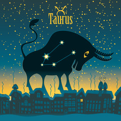 Taurus sign in the starry sky night city