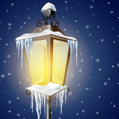 Old street lamp in snow eps10