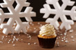 Vanilla cupcake on Christmas background