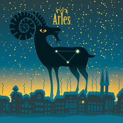Aries sign in the starry sky night city