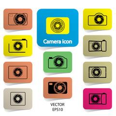 set of digital camera icons, vector