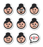 Grandma face, woman with bun hair vector icons set