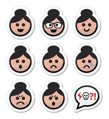 Grandma face, woman with bun hair vector icons set