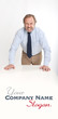Angry businessman leaning on a table