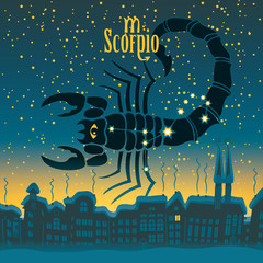 Scorpio sign in the starry sky night city