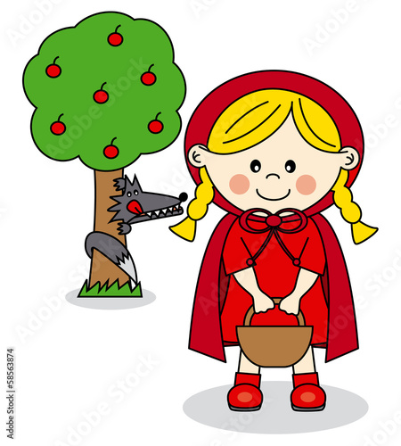 Children Story.  Little Red Riding Hood and the Big Bad Wolf