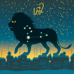 Leo sign in the starry sky night city