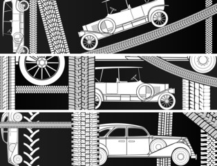 Horizontal banners of old vintage car.