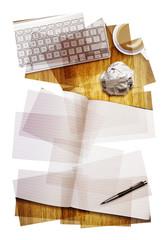 work desk collage