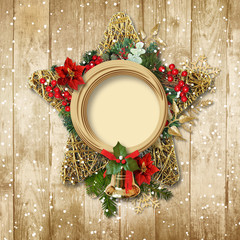 Christmas decoration with poinsettia&bell on a wooden board