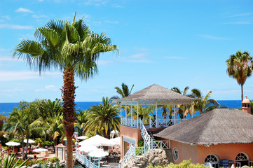 Open-air restaurant at luxury hotel, Tenerife island, Spain