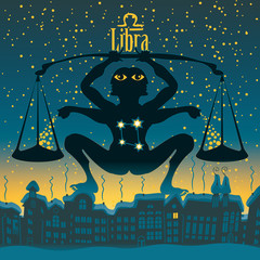 Libra sign in the starry sky night city