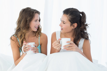 Female friends with coffee cups chatting in bed