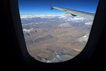 Mountain range view from aircraft window, Leh, Ladakh, India