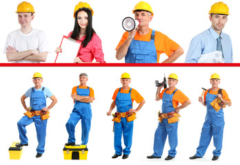 Industrial workers  with yellow helmet