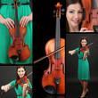 Collage of beautiful young girl with violin
