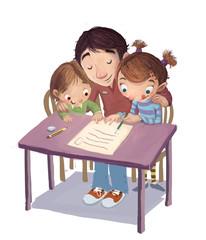 familia escribiendo