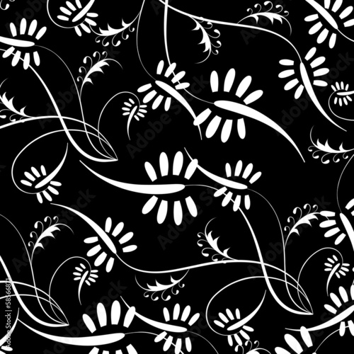 Vector flowers patterns on a black background
