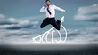 Handsome happy businesswoman jumping in front of success graphic