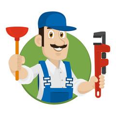 Emblem plumber in circle