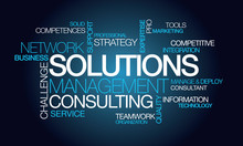 """Постер, картина, фотообои """"Solutions management consulting network word tag cloud image"""""""