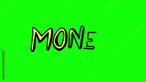 Animation of the word money appearing slowly
