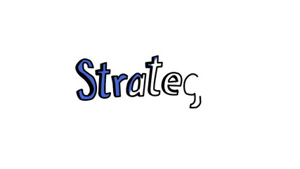 Animation of the word strategy appearing slowly