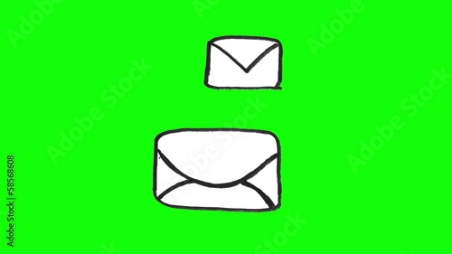 Animation of white envelopes appearing