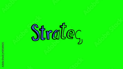 Animation of the word strategy appearing