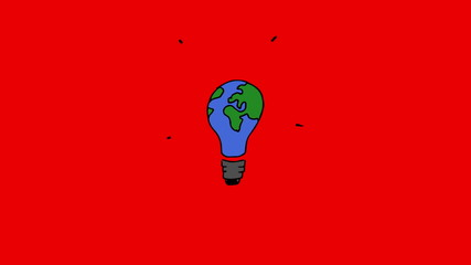 Gestating light bulb painted in the colours of the globe