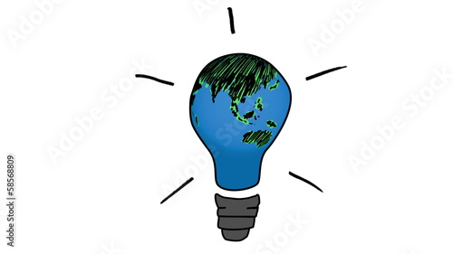 Animation of rotating globe transforming to a light bulb