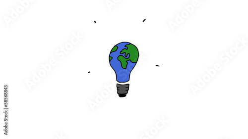 Animation of gestating light bulb painted in colours of globe